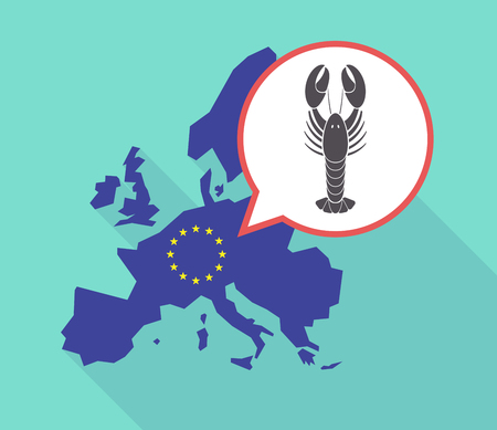 Illustration of a long shadow European Union map with its flag, and a comic balloon with a lobster seafood Illustration