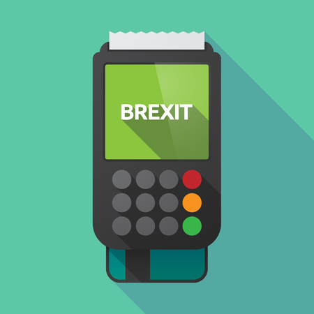 Illustration of a long shadow dataphone with  the text BREXIT