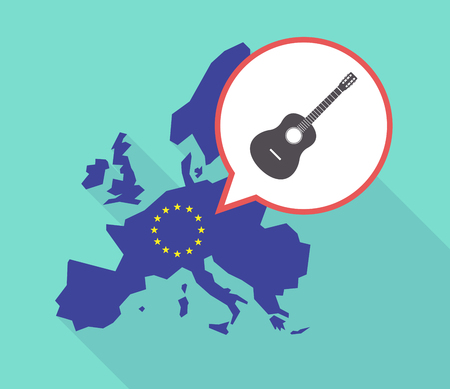 Illustration of a long shadow European Union map with its flag, and a comic balloon with  a six string acoustic guitar