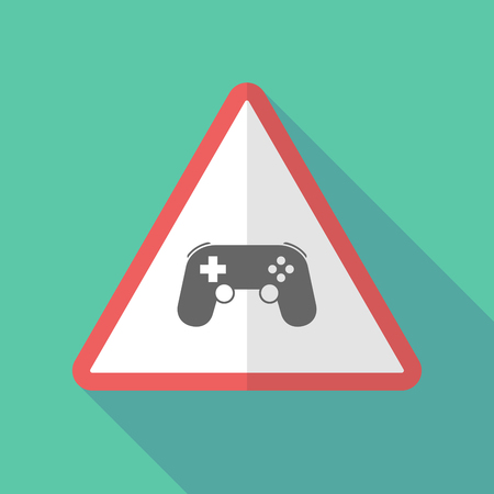 Illustration of a long shadow warning sign with  a game pad