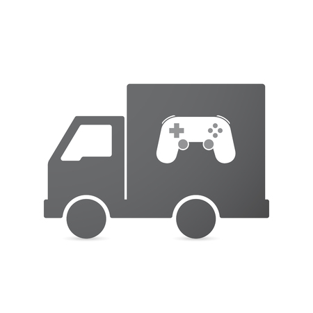 move controller: Illustration of an isolated transport truck with  a game pad