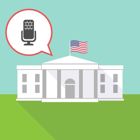 Illustration of the White House with a comic balloon and  a microphone sign Illustration