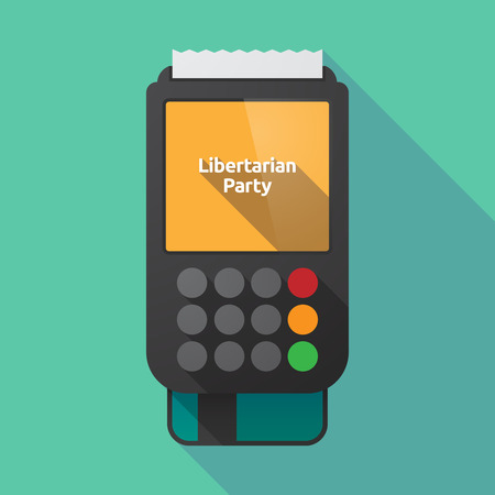 presidential: Illustration of a long shadow dataphone with  the text Libertarian Party