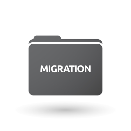 Illustration of an isolated folder signal with  the text MIGRATION
