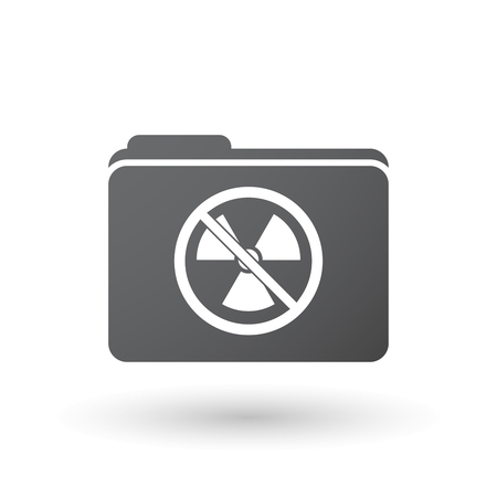 no nuclear: Illustration of an isolated folder signal with  a radioactivity sign  in a not allowed signal