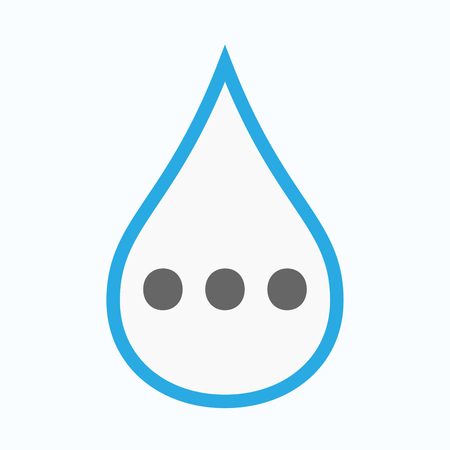 Illustration of an isolated line art water drop with  an ellipsis orthographic sign