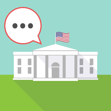 Illustration of the White House with a comic balloon and  an ellipsis orthographic sign