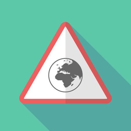 Illustration of a long shadow warning sign with   an Asia, Africa and Europe regions world globe