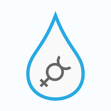 hermaphrodite: Illustration of an isolated line art water drop with  the mercury planet symbol Illustration