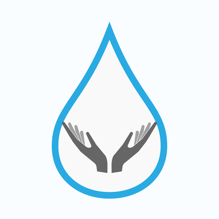 Illustration of an isolated line art water drop with  two hands offering