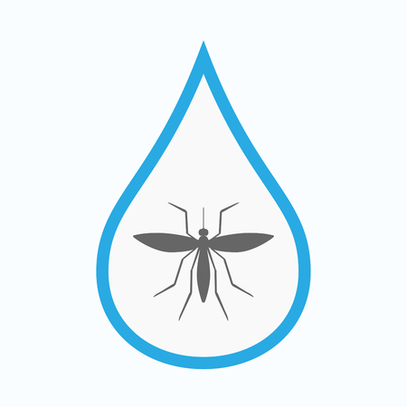 Illustration of an isolated line art water drop with  a mosquito