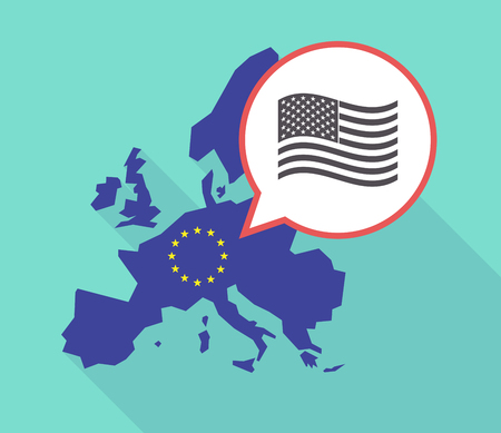 commission: Illustration of a long shadow European Union map with its flag, and a comic balloon with  the Unites States of America waving flag Illustration