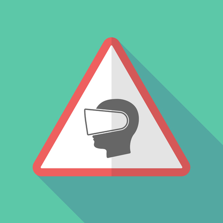 eyewear: Illustration of a long shadow warning sign with  a male head wearing a virtual reality headset Illustration