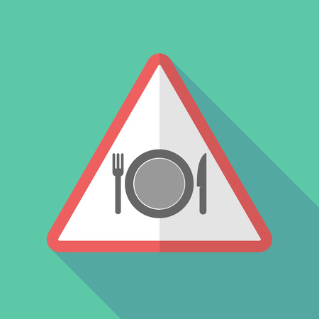 Illustration of a long shadow warning sign with  a dish, knife and a fork icon Illustration
