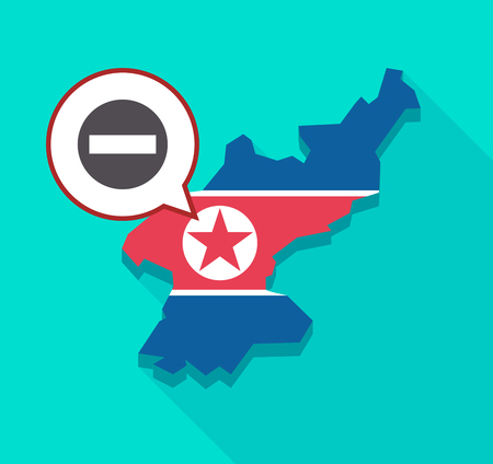 Illustration of a long shadow North Korea map with its flag and a comic balloon with  a no trespassing signal Illustration