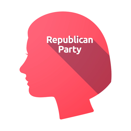 presidential: Illustration of an isolated female head with  the text  Republican  Party