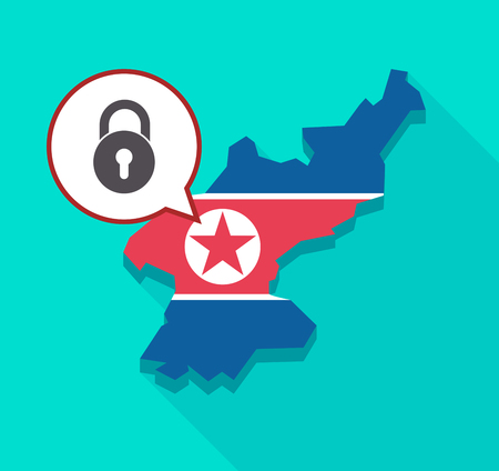 Illustration of a long shadow North Korea map with its flag and a comic balloon with  a closed lock pad