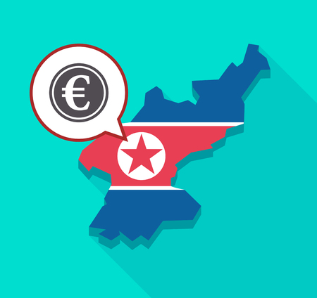 Illustration of a long shadow North Korea map with its flag and a comic balloon with  an euro coin
