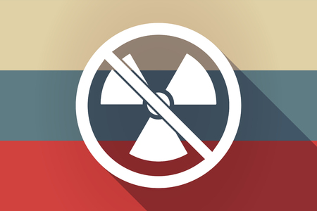 no nuclear: Illustration of a long shadow Russia flag with  a radioactivity sign  in a not allowed signal Illustration