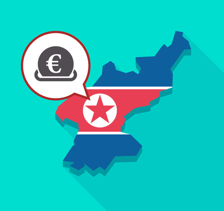 Illustration of a long shadow North Korea map with its flag and a comic balloon with  an euro coin entering in a moneybox