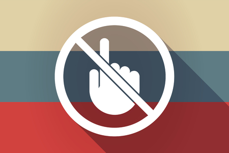 Illustration of a long shadow Russia flag with  a touching hand  in a not allowed signal Illustration