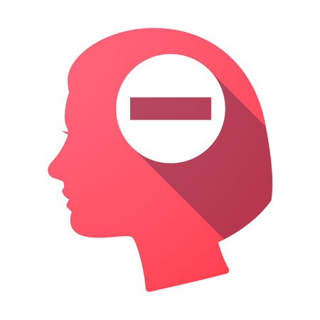 Illustration of an isolated female head with  a no trespassing signal