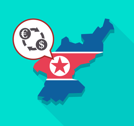 Illustration of a long shadow North Korea map with its flag and a comic balloon with  an euro dollar exchange sign Illustration