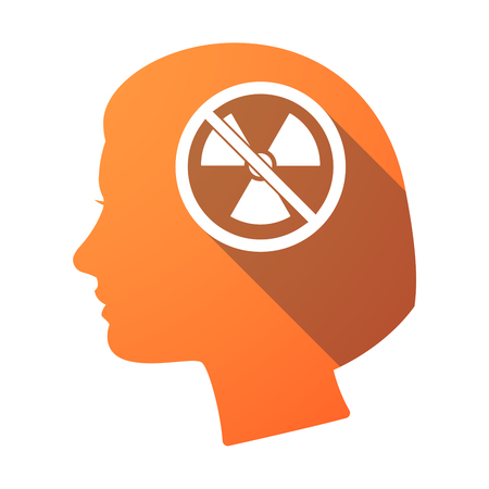 Illustration of an isolated female head with  a radioactivity sign  in a not allowed signal