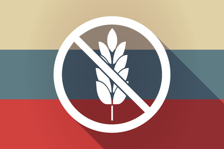 Illustration of a long shadow Russia flag with  a gluten free sign Illustration