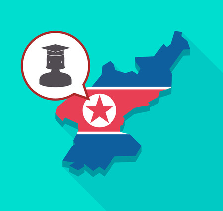Illustration of a long shadow North Korea map with its flag and a comic balloon with  a female graduated student Illustration