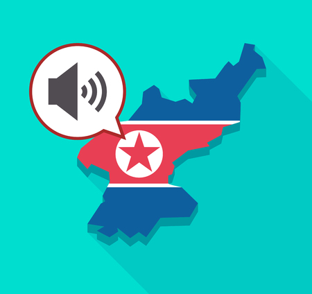 Illustration of a long shadow North Korea map with its flag and a comic balloon with  a speaker volume sign Illustration
