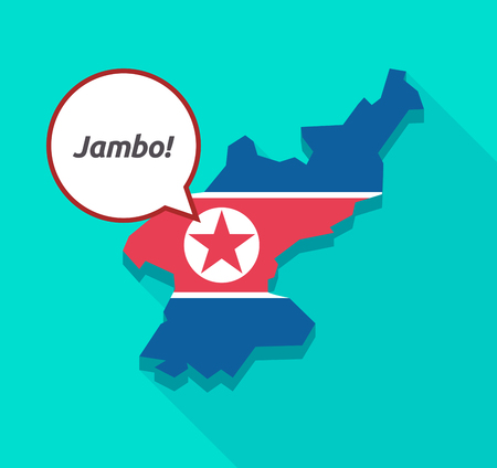 swahili: Illustration of a long shadow North Korea map with its flag and a comic balloon with  the text Hello! in the swahili language