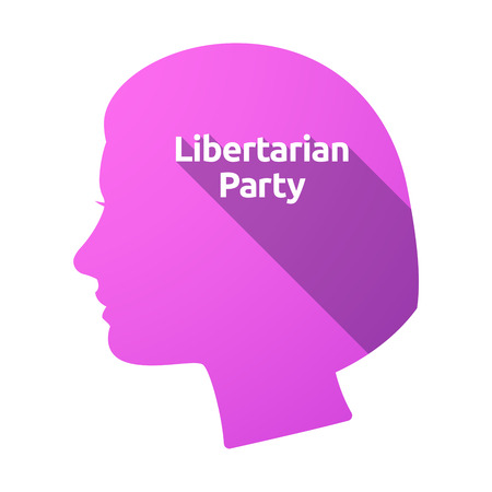 Illustration of an isolated female head with  the text Libertarian Party