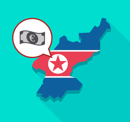 Illustration of a long shadow North Korea map with its flag and a comic balloon with  an euro bank note