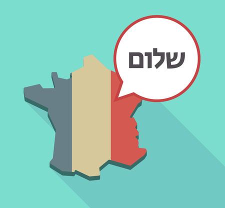 そのフラグを持つフランス マップとヘブライ語の言語のテキストこんにちはとコミック バルーンの長い影のイラスト  イラスト・ベクター素材