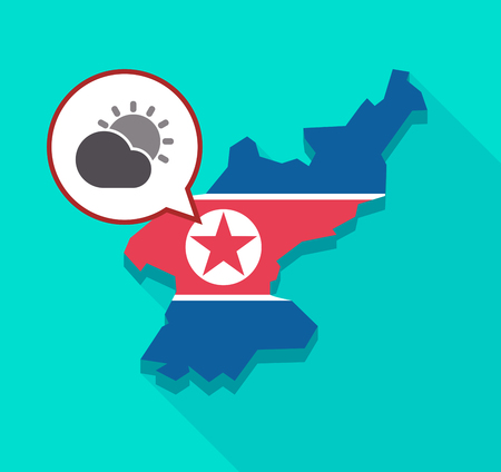 Illustration of a long shadow North Korea map with its flag and a comic balloon with  the Sun shining behind a cloud Illustration