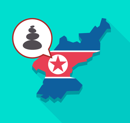 Illustration of a long shadow North Korea map with its flag and a comic balloon with  a stacked zen stones