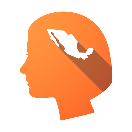 Illustration of an isolated female head with  a map of Mexico Illustration