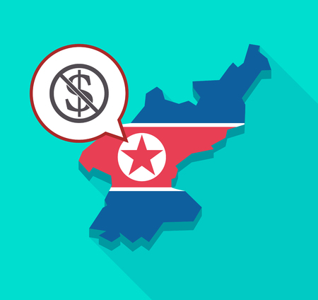 Ilustración de una larga sombra Mapa de Corea del Norte con su bandera y un globo de comic con un signo de dólar en una señal no permitida Foto de archivo - 76793347