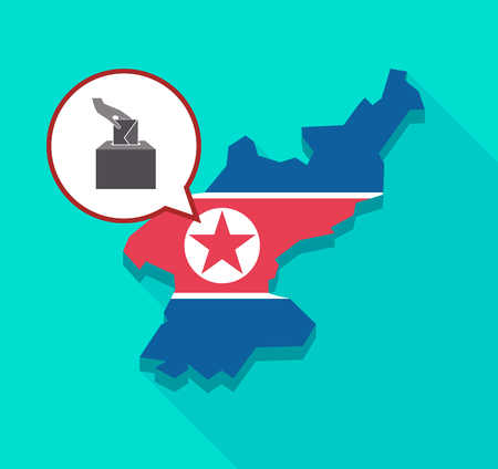Illustration of a long shadow North Korea map with its flag and a comic balloon with  a hand inserting an envelope in a ballot box