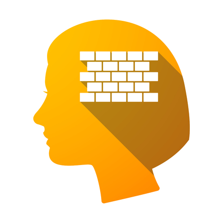 Illustration of an isolated female head with  a brick wall