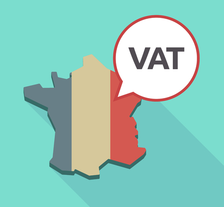 vat: Illustration of a long shadow France map with its flag and a comic balloon with  the value added tax acronym VAT