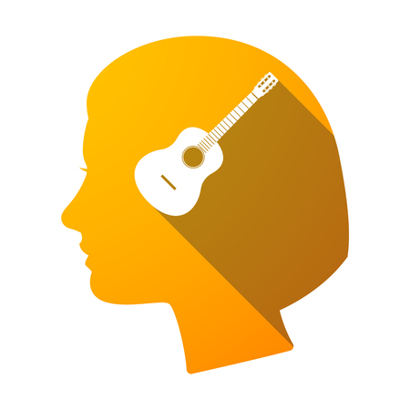 Illustration of an isolated female head with  a six string acoustic guitar Illustration