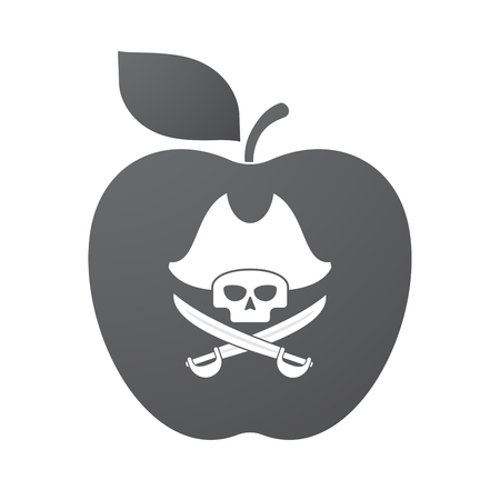 skull and crossed bones: Illustration of an isolated apple fruit with a pirate skull Illustration