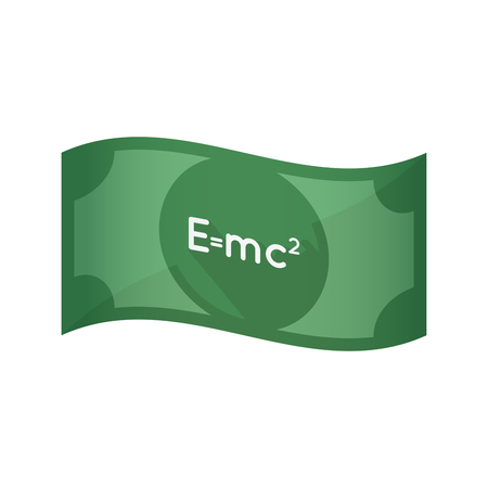 Illustration of an isolated waving bank note with the Theory of Relativity formula