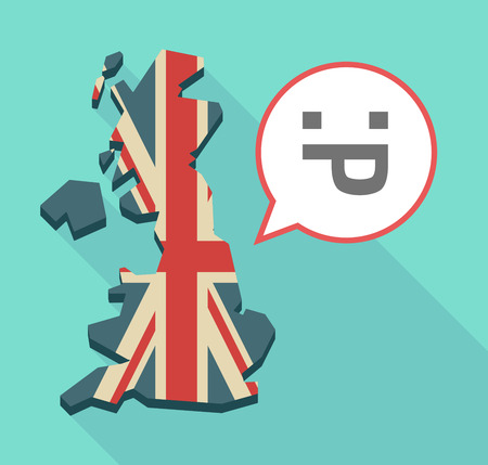 Illustration of an isolated long shadow United Kingdom map with its flag and a sticking out tongue text face
