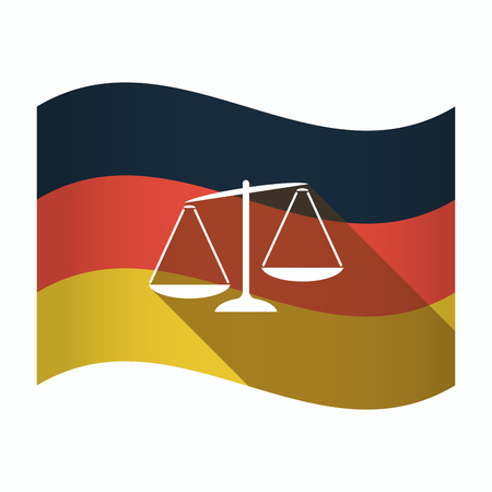 Illustration of an isolated Germany waving flag with  an unbalanced weight scale Çizim