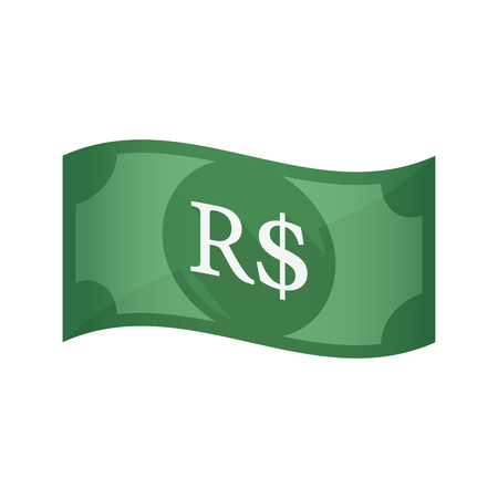 Illustration of an isolated waving bank note with a brazillian real currency sign