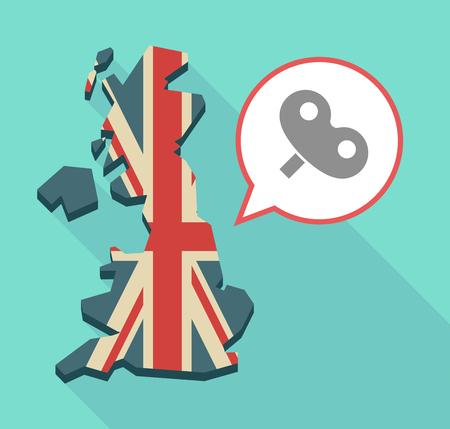 Illustration of an isolated long shadow United Kingdom map with its flag and a toy crank