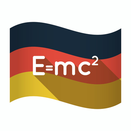 Illustration of an isolated Germany waving flag with the Theory of Relativity formula
